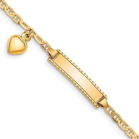 "14k Yellow Gold 5mm Children's Heart Dangle Anchor Link ID Bracelet, 6"""