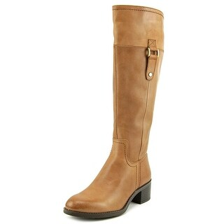 Franco Sarto Lizbeth Wide Calf Women Round Toe Leather Brown Knee High Boot