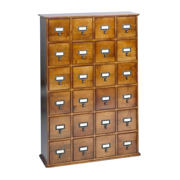 Library Card Catalog CD/DVD Storage Cabinet 24 Drawer Stores 456 Discs - Walnut - 27.13 in. x 40 in. x 8 in.