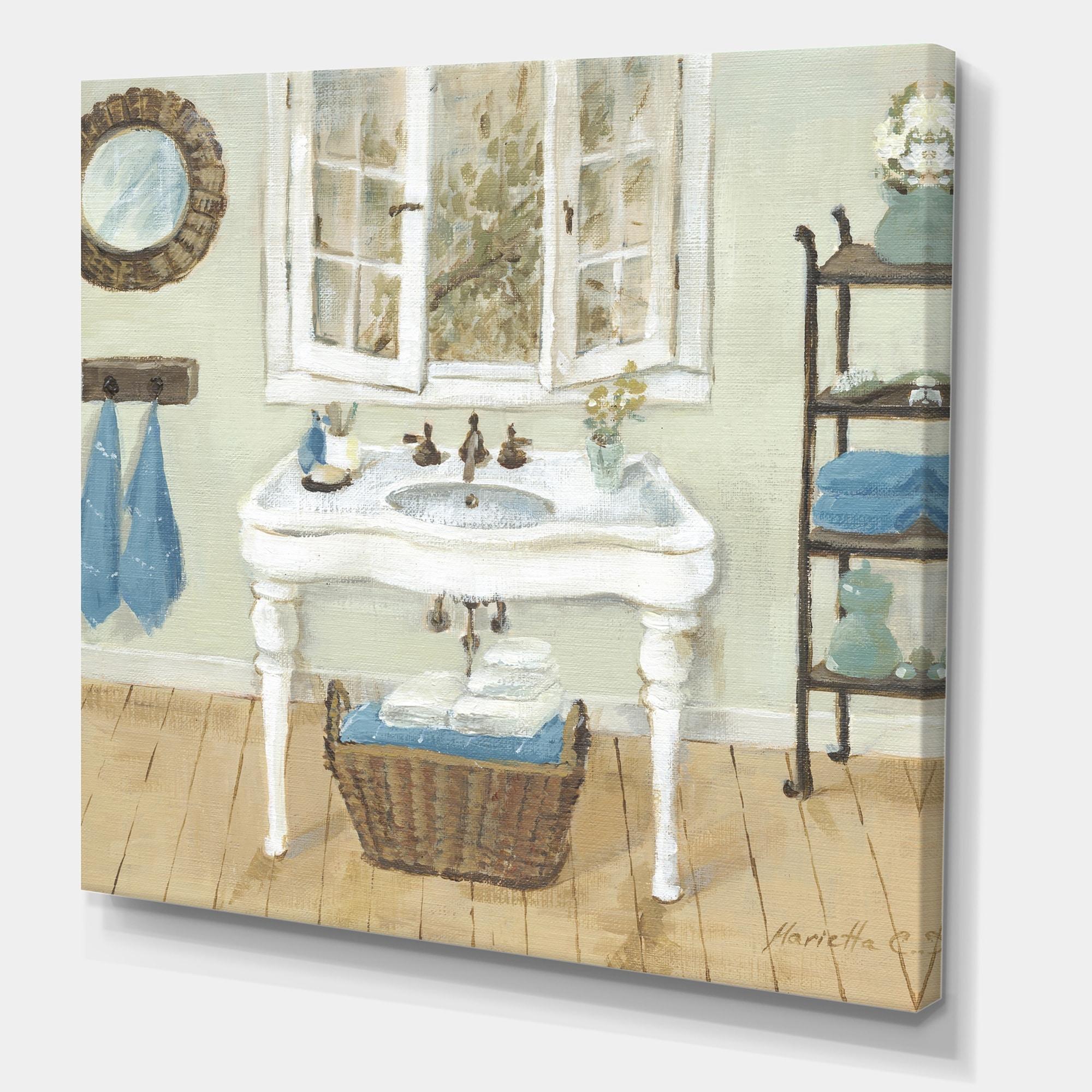 Shop Designart French Country Bathroom I Vintage Canvas Art Print On Sale Overstock 27777467