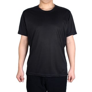 Men Polyester Short Sleeve Clothes Casual Wear Tee Running Sport T-shirt Black L