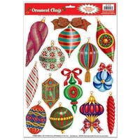 Club Pack of 156 Christmas Ornament Window Clings Holiday Decorations 17""