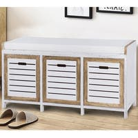Costway Shoe Stool Storage Bench 3 Storage Organizer Bench Cushion Seat Ottoman Hallway - as pic