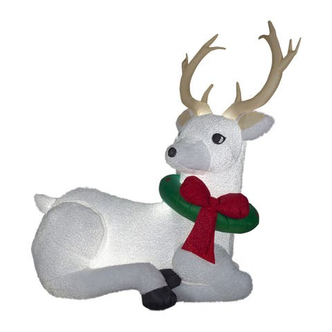 8.5' White and Red Resting Buck Inflatable Outdoor Christmas Decor