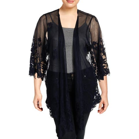 Eyeshadow Womens Plus Duster Top Lace Open Front