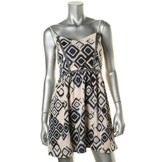 Trixxi Womens Juniors Printed Fit & Flare Tank Dress