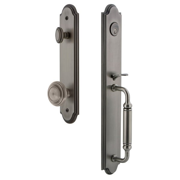 """Grandeur ARCCGRCIR_ESET_234 Arc Solid Brass Rose Keyed Entry Single Cylinder Full Plate """"C"""" Grip Handleset with Circulaire Knob"""