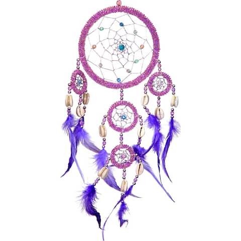 Kheops International Beaded Feathers Iridescent Dreamcatcher - 20 Inch