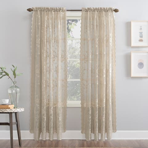 No. 918 Alison Floral Lace Sheer Rod Pocket Curtain Panel
