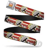 Marvel Comics Marvel Comics Logo Full Color Thor & Hammer Red Yellow White Seatbelt Belt
