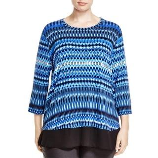 Karen Kane Womens Plus Blouse Sheer Hem 3/4 Sleeve