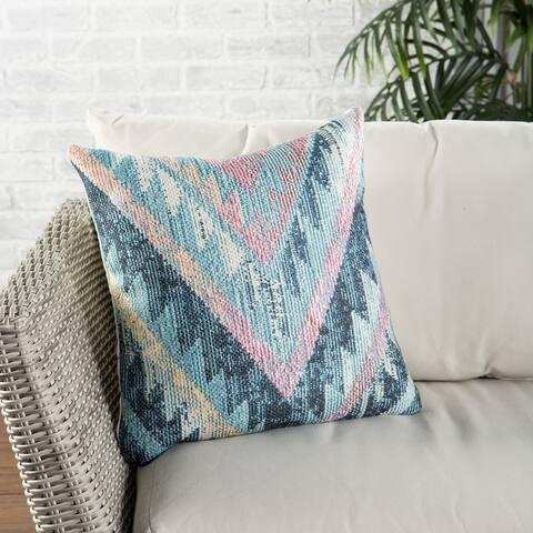 Nikki Chu Petra Indoor/ Outdoor Tribal Blue/ Multicolor Throw Pillow 18 inch
