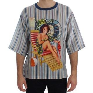 Dolce & Gabbana Dolce & Gabbana Crewneck AGOSTO PANAREA Print Linen T-shirt