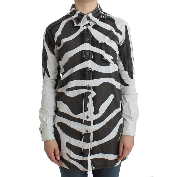 c2e258caa6b36 Shop Balmain White zebra long cotton shirt - Free Shipping Today ...