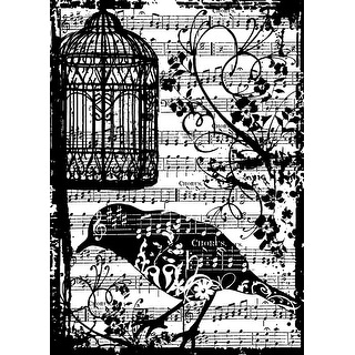 "Tim Holtz Cling Stamp 2.5""X3.5""-Bird Song"