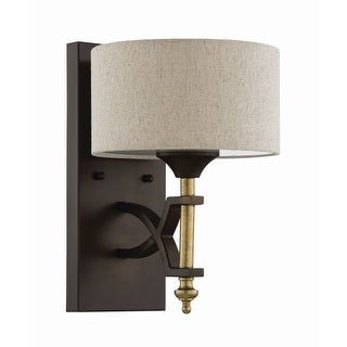 """Craftmade 46361 Colonial Single Light 12"""" High Wall Sconce with Natural Linen Shade"""