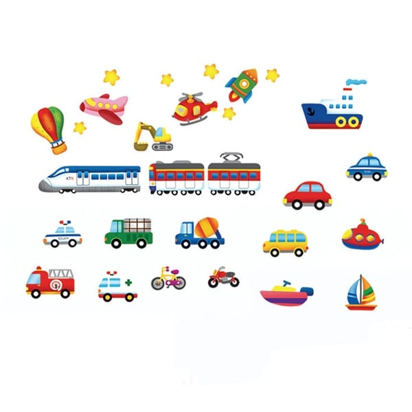 Vehicles Pattern Wall Stickers Removable Art Decal for Bedroom Living Room