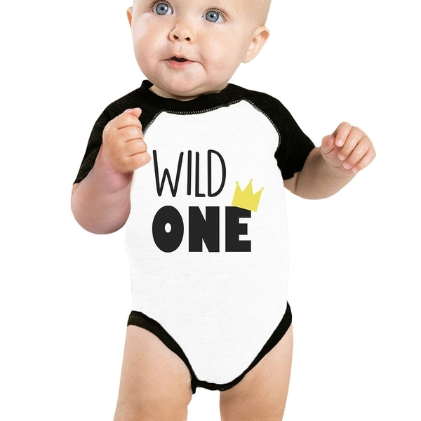 Wild One Crown Cute Baby Raglan Bodysuit Unique Gifts For New Parents