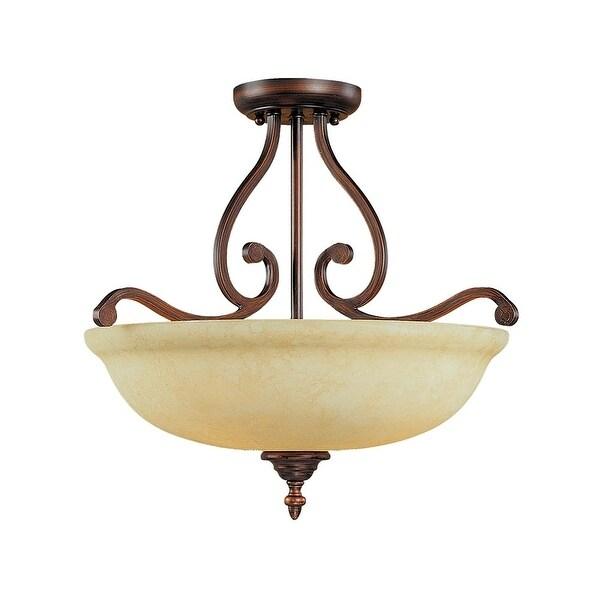 Millennium Lighting 1033 Courtney Lakes 3-Light Semi-Flush Ceiling Fixture - Rubbed bronze - n/a