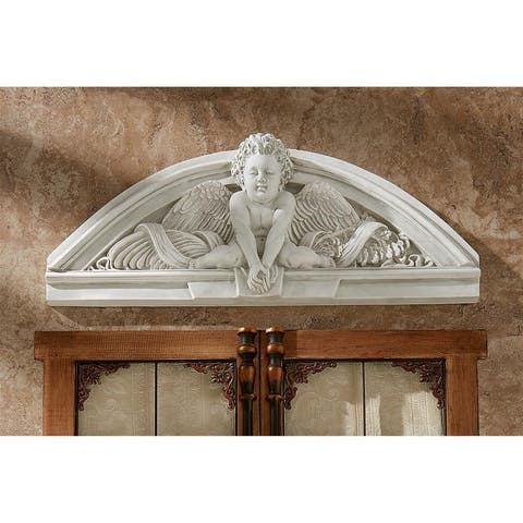 Design Toscano Cherubs Grande Welcome Sculptural Wall Pediment