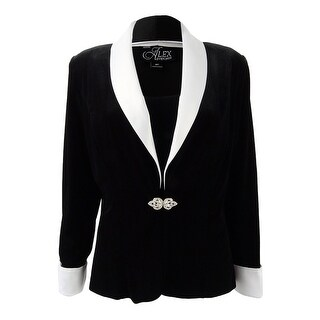 Alex Evenings Women's Petite Velvet & Satin Jacket & Shell - BLACK/WHITE