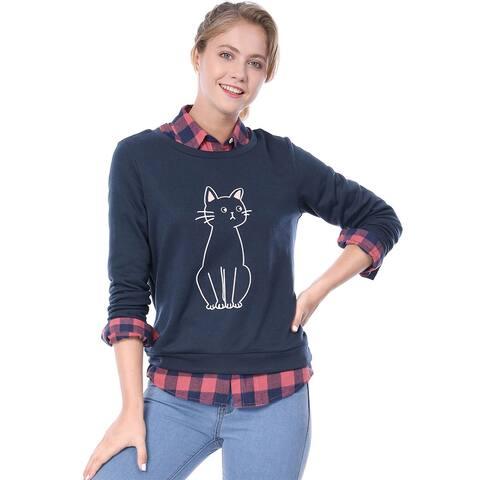 Unique Bargains Women's Round Neck Cat Printed Sweatshirt - Blue