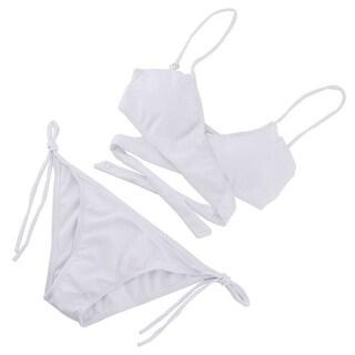 Women Lady Padded Bathing Bra Bikini Set Back Halter Racerback Swimsuit White S