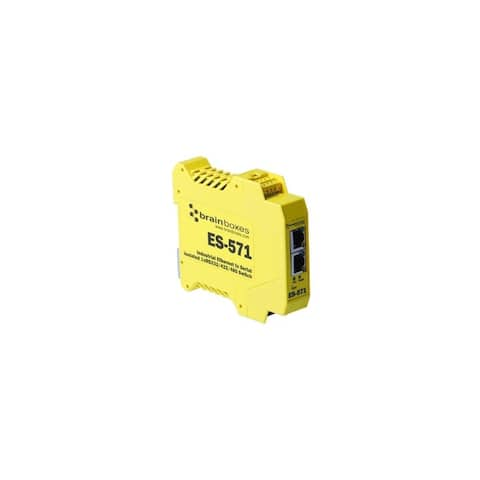 Brainboxes ES-571 Brainboxes Es-571 Industrial Isolated Ethernet to Serial + Switch - 1 x Network (RJ-45) - 1 x Serial Port -