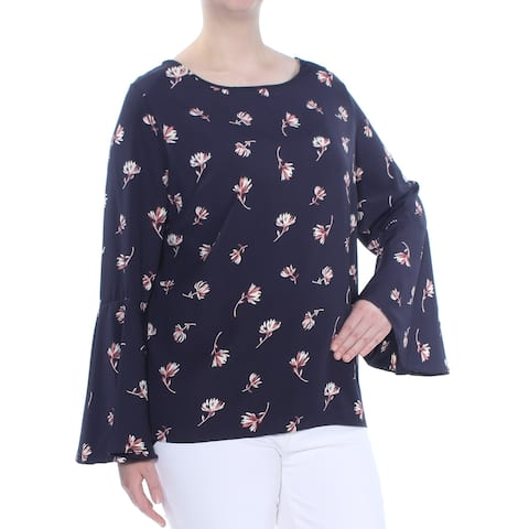 SOPRANO Womens Navy Printed Bell Sleeve Top Plus Size: 3X