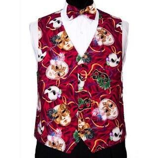 Phantom Masks Mardi Gras Tuxedo Vest and Bow Tie - multicoloured