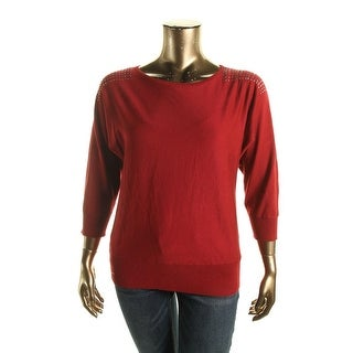 Cable & Gauge Womens Studded Dolman-Sleeve Pullover Sweater