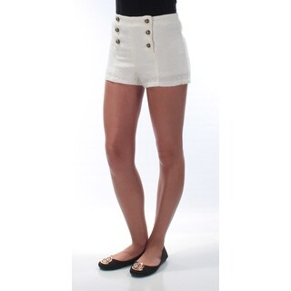 DISNEY $44 Womens New 1636 Ivory Buttoned Up Cropped Casual Short XS B+B