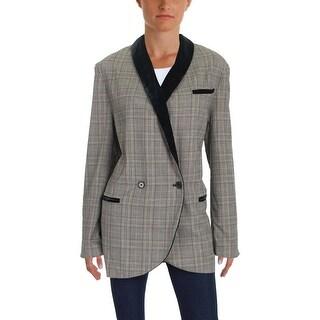 Free People Womens One-Button Blazer Velvet Trim Formal