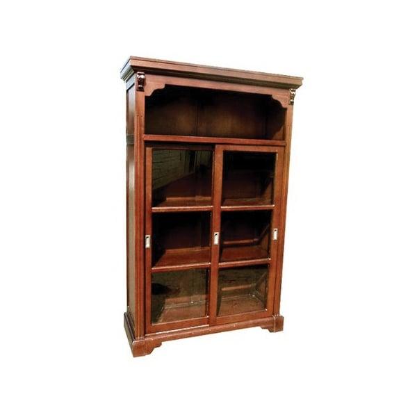 Offex Handmade Kiln Dried Mahogany Wood Rowley Curio Bookcase