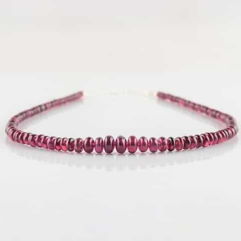 Natural Red Garnet Gemstone Beaded Necklace Sterling Sliver