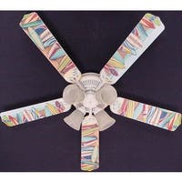 Hawaiian Surf Boards Print Blades 52in Ceiling Fan Light Kit - Multi