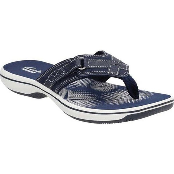 b4bfb6c693a6 Shop Clarks Women s Breeze Sea Flip Flop Navy Synthetic - On Sale ...