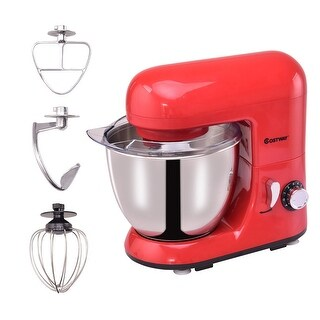 Costway Electric Food Stand Mixer 6 Speed 4.3Qt 550W Tilt-Head Stainless Steel Bowl