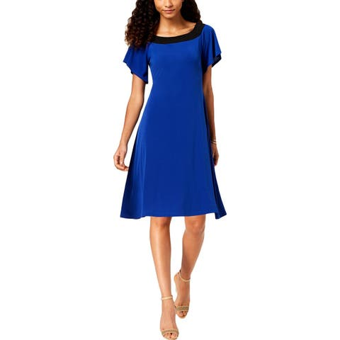 NY Collection Womens Petites Casual Dress Colorblock A-Line