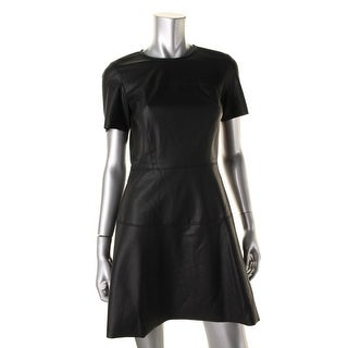 Aqua Womens Coated Short Sleeves Cocktail Dress