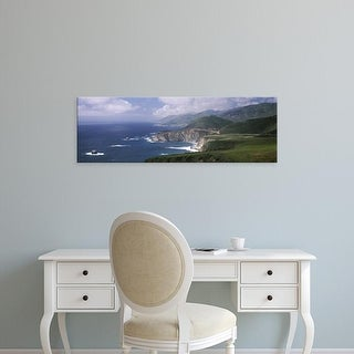 Easy Art Prints Panoramic Image 'Rock formations, Bixby Bridge, Pacific Coast Highway, Big Sur, California' Canvas Art