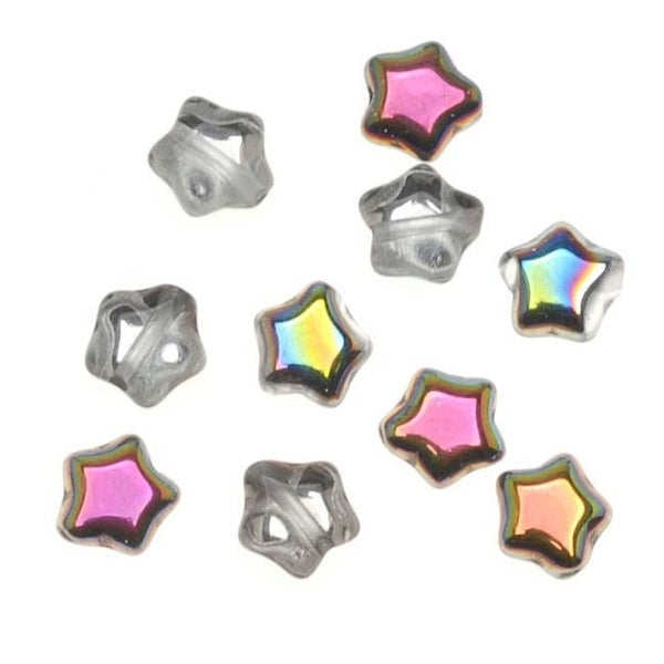 Czech Glass Beads Crystal Vitrail Tiny Stars 6mm (25)