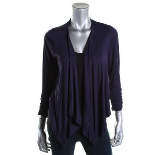 Grace Elements Womens Knit Ruched Cardigan Top - M