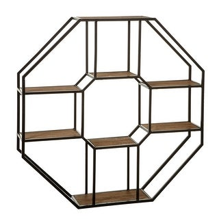 Black and Brown Decorative Metal and Wood Hexagon Wall Shelf 37.08""