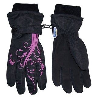 NICE CAPS Girls Thinsulate and Waterproof Winter Gloves with Flower Tattoo Print - Black/Fuchsia