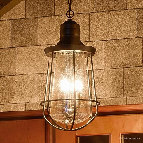 "Luxury Vintage Outdoor Pendant Light, 20""H x 9.5""W, with Nautical Style, Cage Design, Estate Bronze Finish"