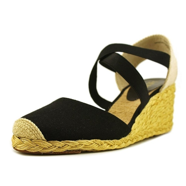 b4afea8b49a Shop Lauren Ralph Lauren Casandra Women Open Toe Canvas Black Wedge ...