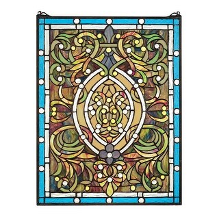 Design Toscano Beguiled in Blue Tiffany-Style Stained Glass Window
