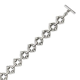 Chisel Stainless Steel Polished & Textured Circles 8in Toggle Bracelet