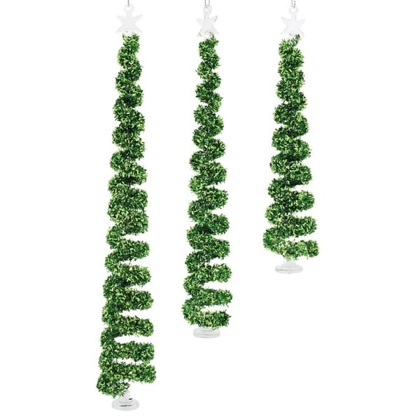 """Spiral Christmas Tree Ornament (Set of 3) 7.5""""H-11.5""""H Glass"""